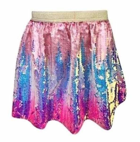 Lola & the Boys Bubble Gum Ombre Sequin Skirt