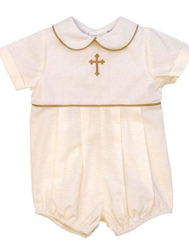 Bailey Boys Ivory Cross Pleated Bubble