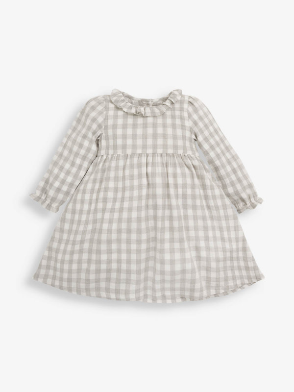 JoJo Maman Bebe Pretty Gingham Dress Grey