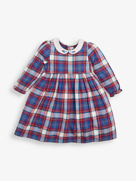 JoJo Maman Bebe Pretty Check Dress Berry