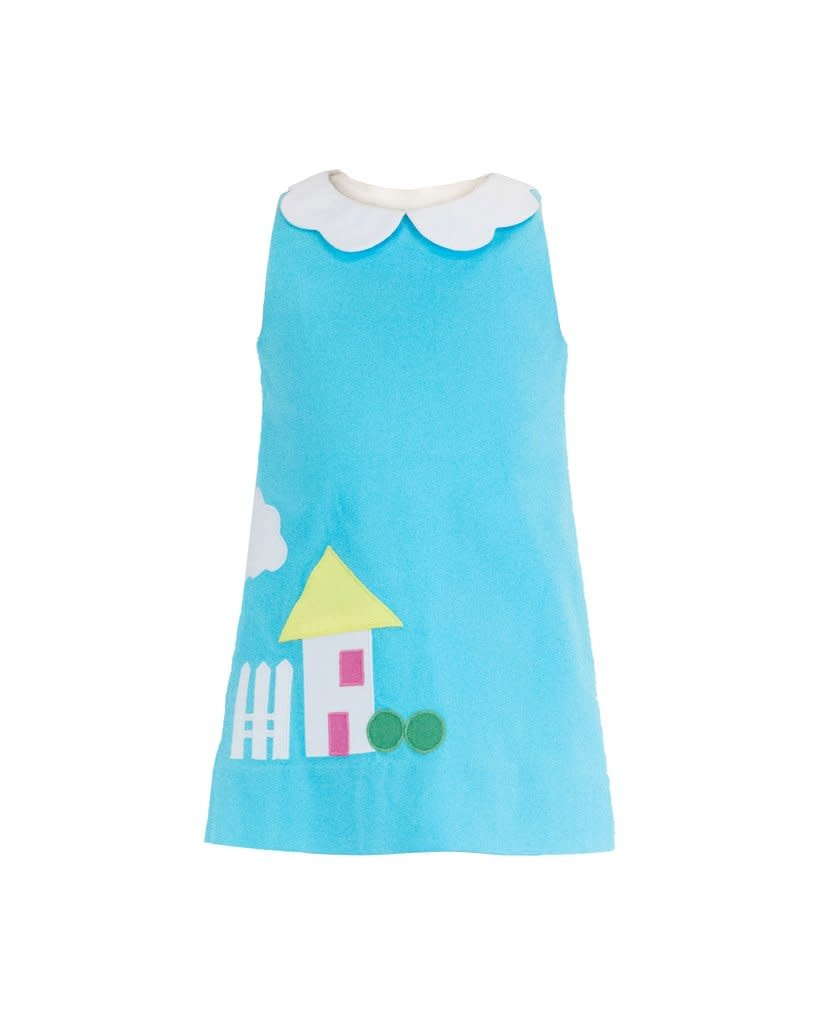Florence Eiseman Turquoise Dress w House