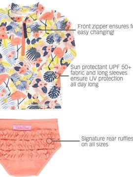Ruffle Butts Tropical Flamingo Rash Bikini