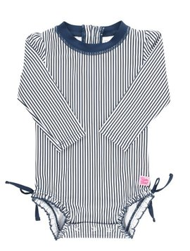 Ruffle Butts Navy Stripe One Piece Rash Guard