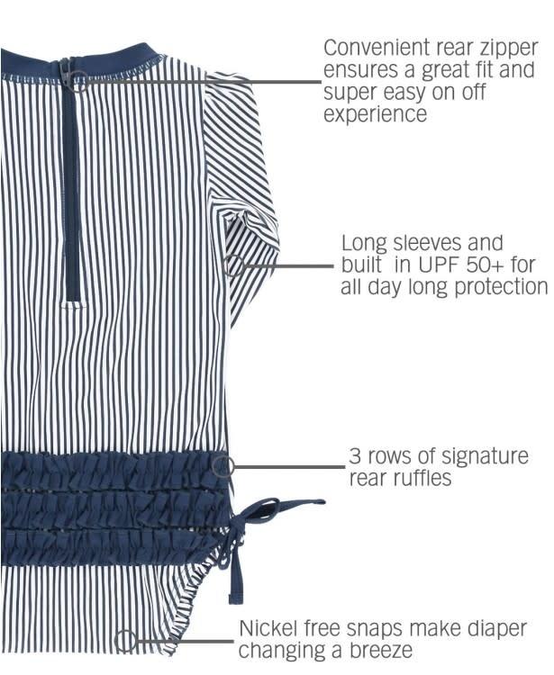 Ruffle Butts Navy Stripe One Piece Rash Guard