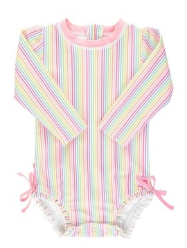 Ruffle Butts Rainbow Stripe One Piece Rash Guard