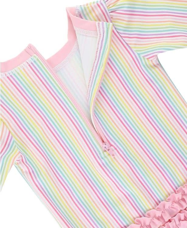 Ruffle Butts Rainbow Stripe One Piece Rash Guard