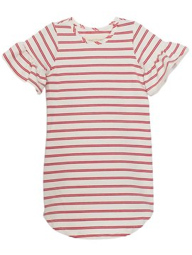 Mabel and Honey Red Stripe Knit Ruffle Dress