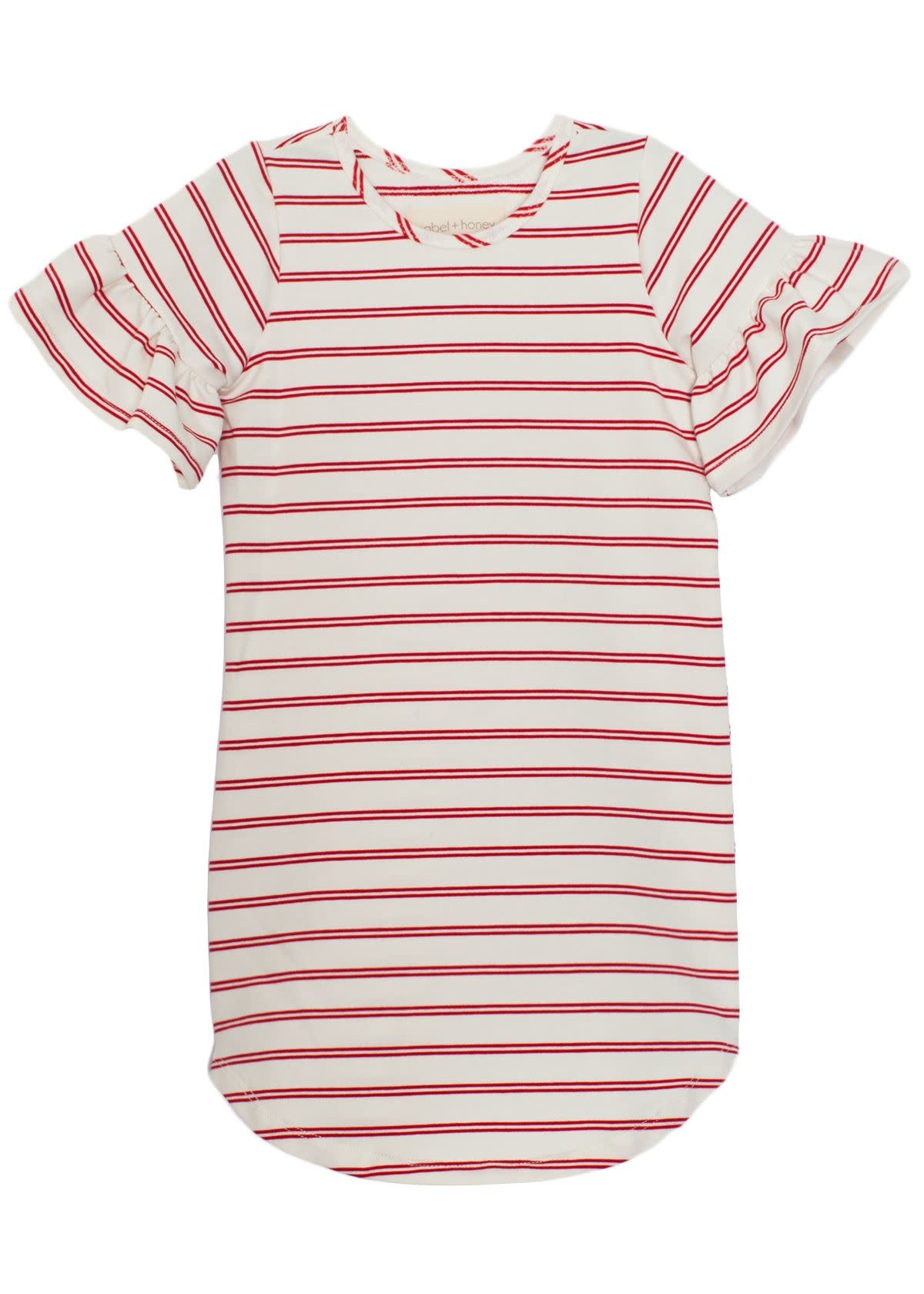 Mabel and Honey Red Stripe Knit Ruffle Dress