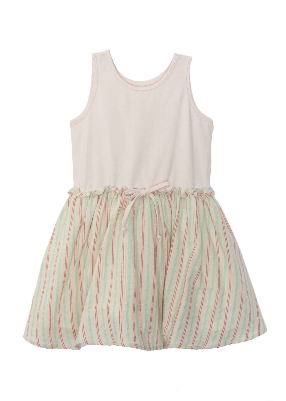 Mabel and Honey Natural Knit Dress w Woven Skirt