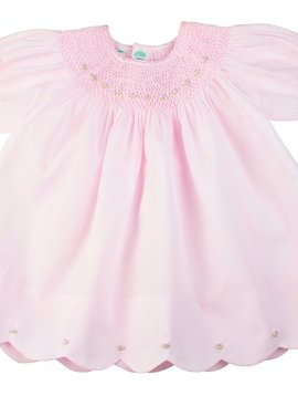 Feltman Brothers Pink Scallop Hem Bishop Dress