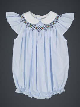 Feltman Brothers Blue Argyle Smocked Bishop Bubble