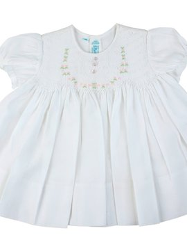 Feltman Brothers White Smocked Rose Dress