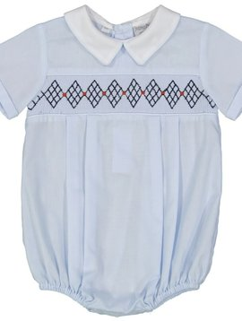 Feltman Brothers Blue Argyle Smocked Creeper