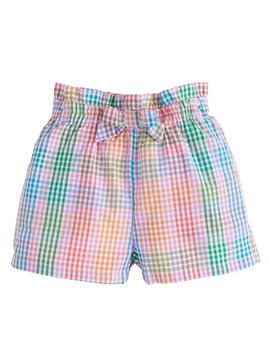 Little English Preppy Plaid Ruffle Bow Shorts