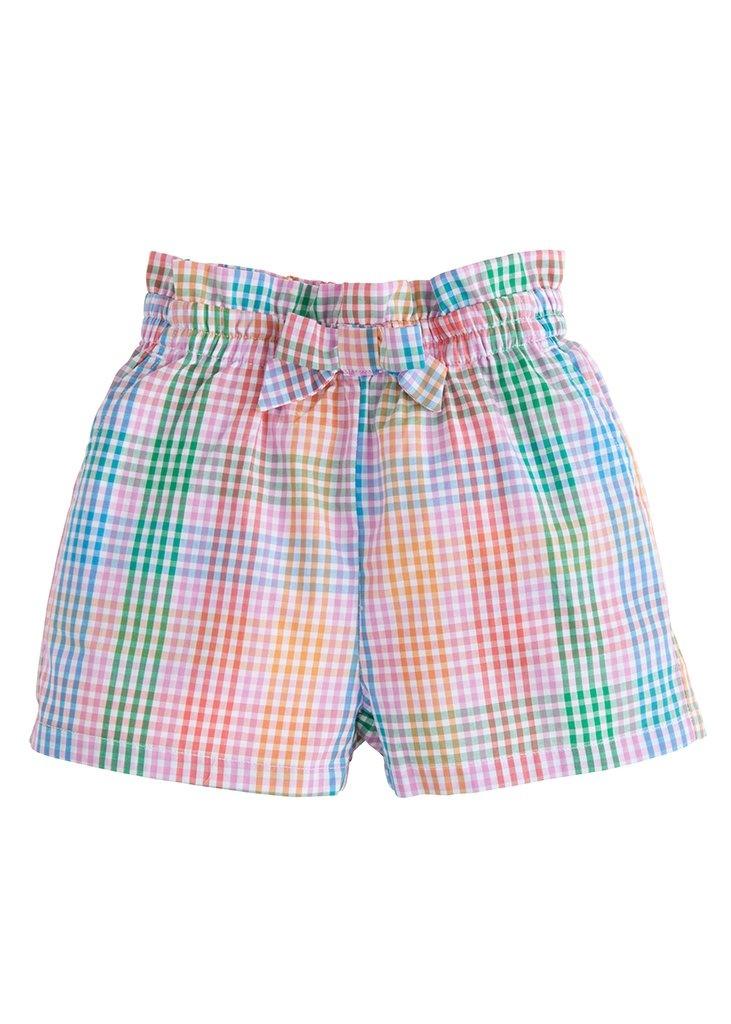 Little English Preppy Plaid Ruffle Bow Shorts