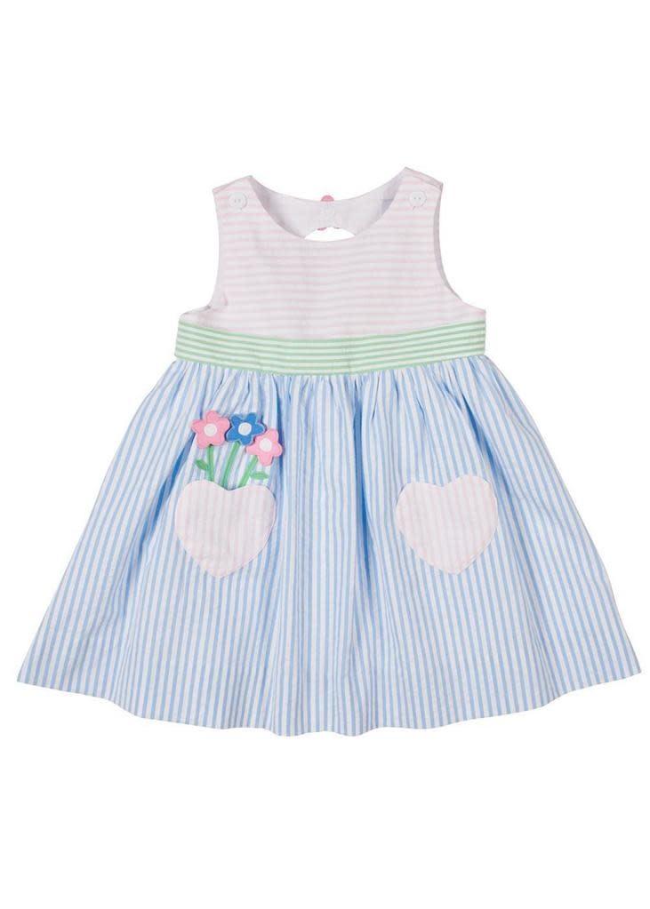 Florence Eiseman Flowers/Heart Pocket Seersucker Dress
