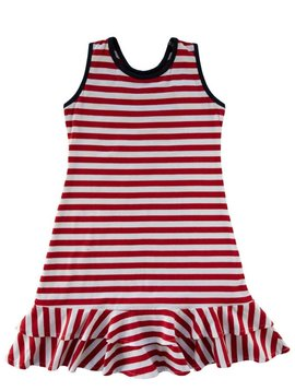 Florence Eiseman Red Stripe Ruffle Hem Dress