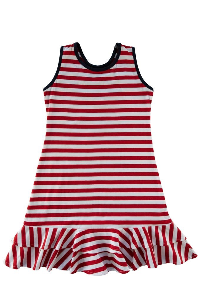 Florence Eiseman Red Stripe Ruffle Hem Dress