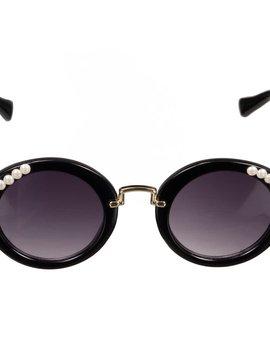 Bari Lynn Round Black Pearl Sunglasses
