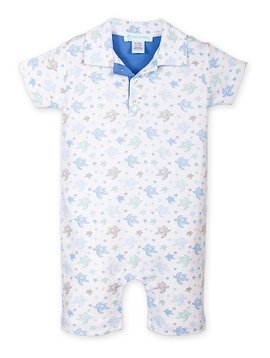 Feather Baby Sea Turtles Collared Romper