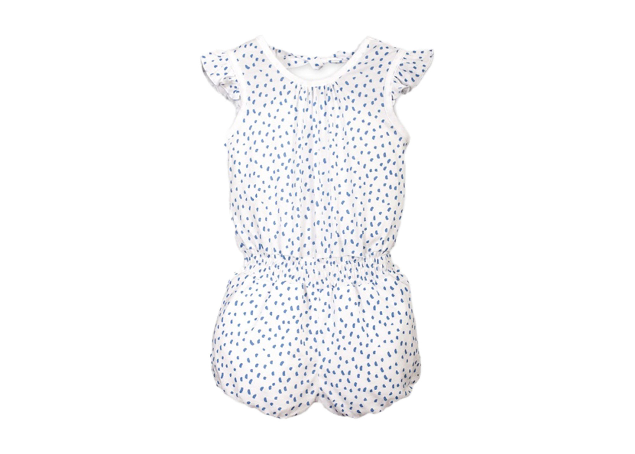 Feather Baby Blue/White Pintas Tie Romper