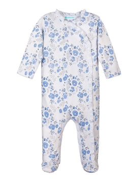 Feather Baby Maria Blue Ruffle Kimono Footie