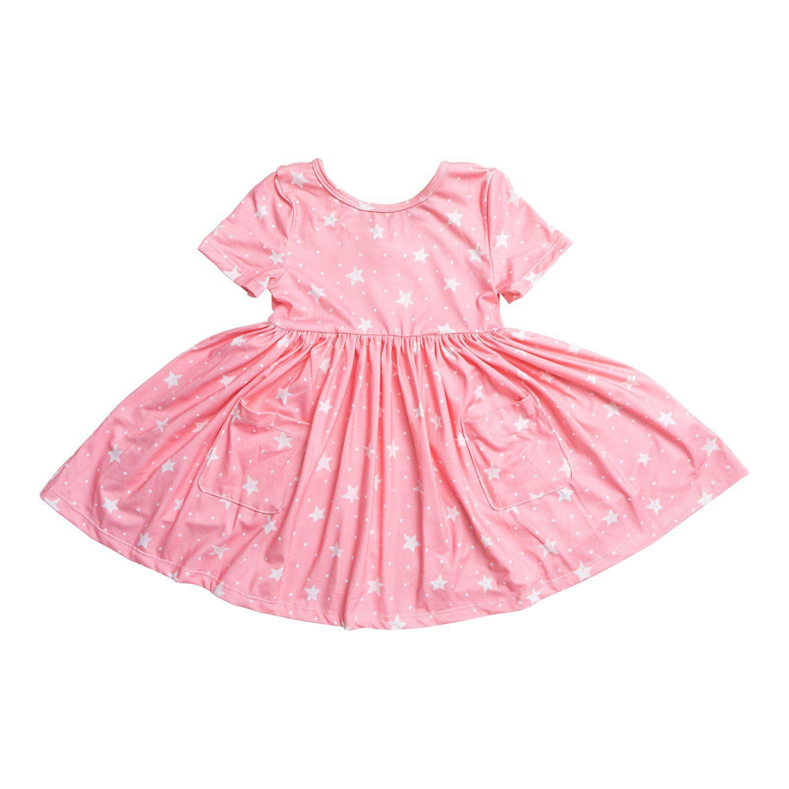 Mila & Rose Pink Star Pocket Twirl Dress