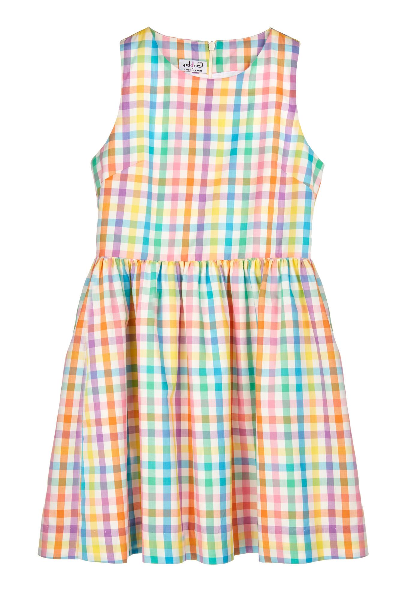Gabby. Aqua Summer Check Dress