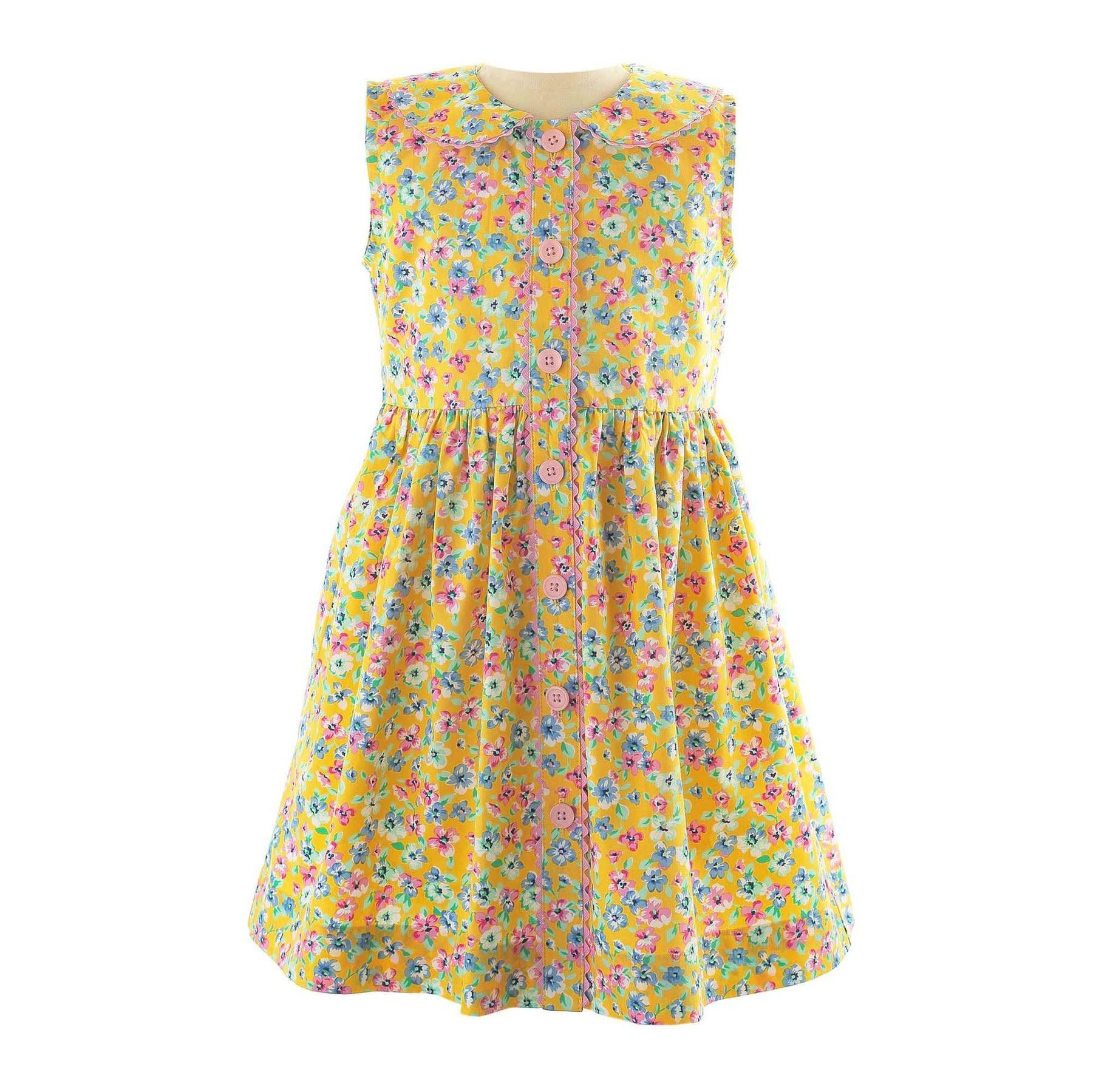 Rachel Riley Yellow Summer Floral Button Dress