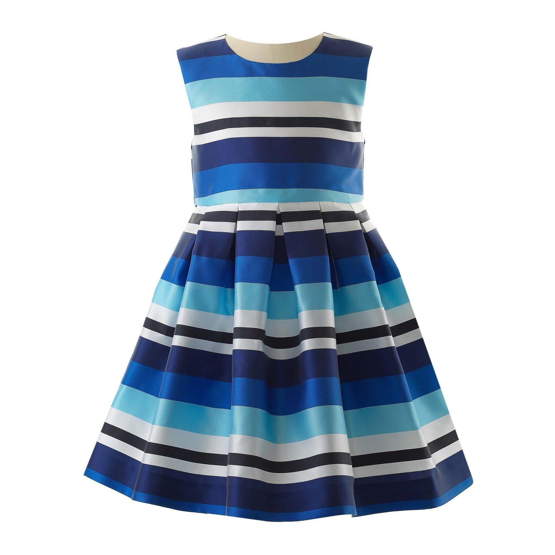 Rachel Riley Blue Striped Party Dress