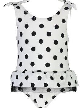 Snapper Rock Black/White Spot Skirt Swimsuit