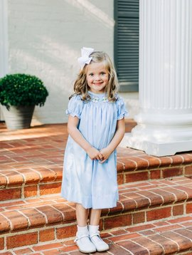 Dogwood Smocking Co Blue Dogwood Bishop Dress