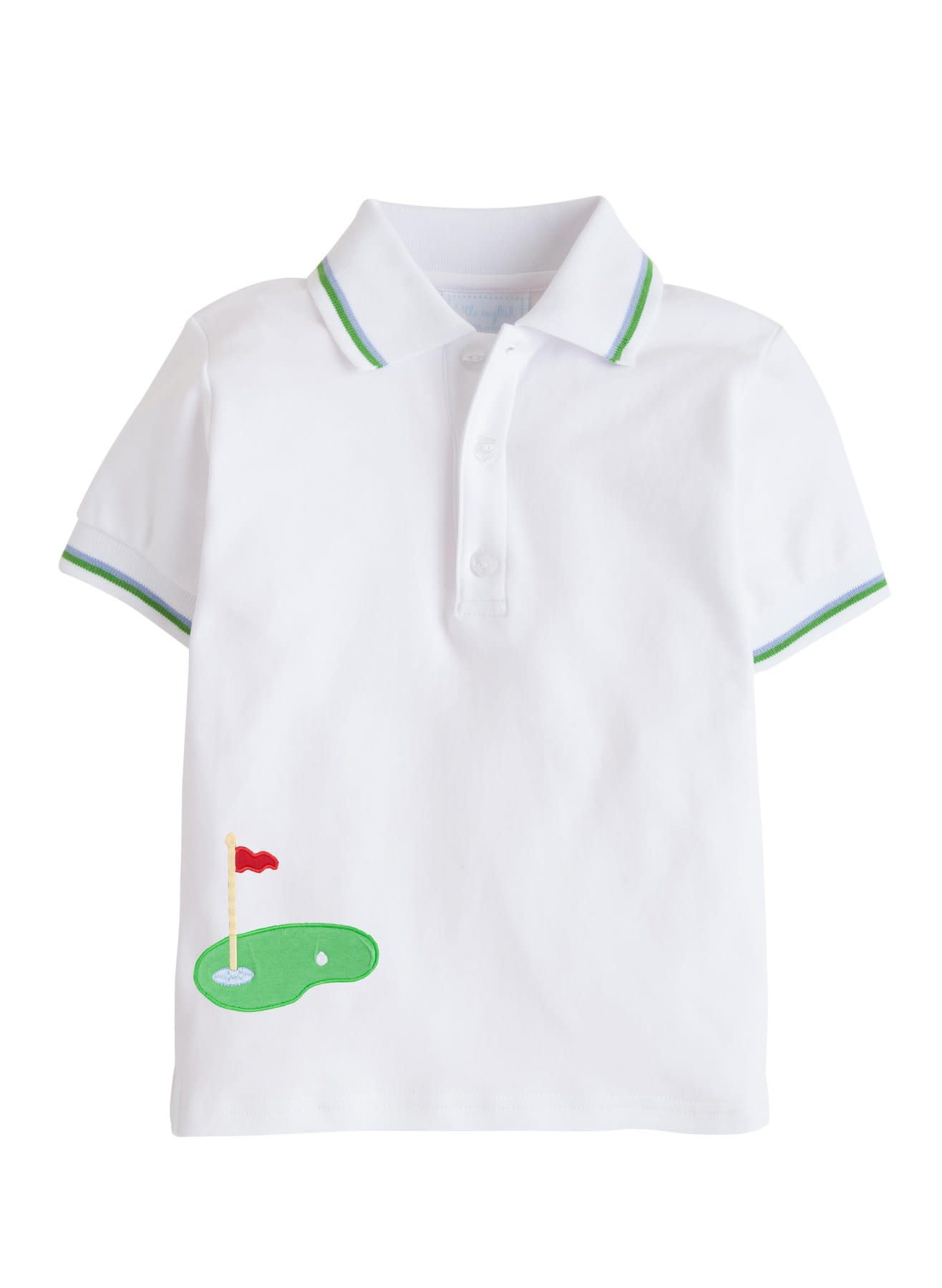 Little English Golf Applique Tipped Polo