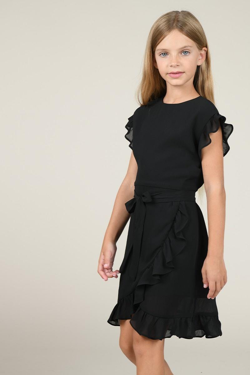 Mini Molly Black Wrap Front Dress