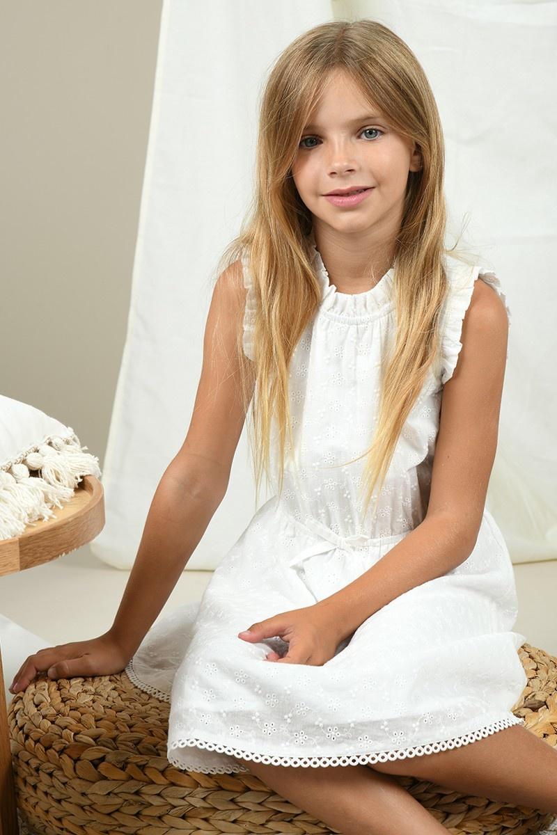 Mini Molly White Eyelet Dress Sleeveless