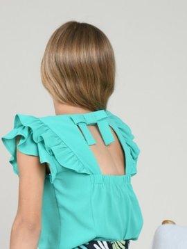 Mini Molly Emerald Green Ruffle Blouse