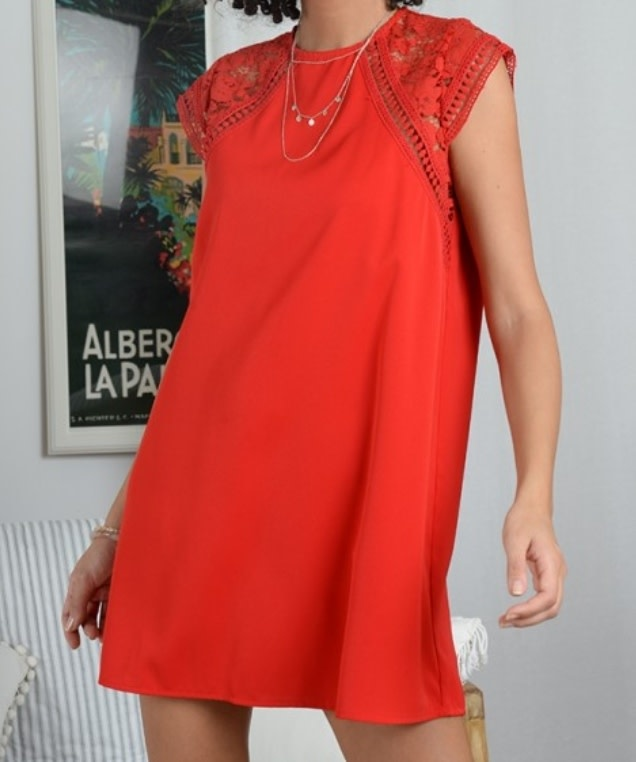 Mini Molly Red Lace Sleeve Dress