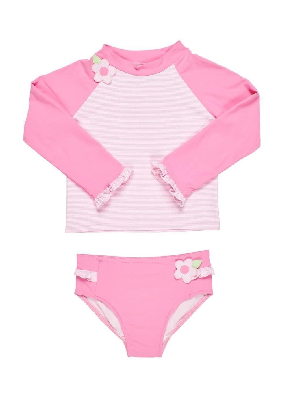 Florence Eiseman Pink Stripe Rash Guard Suit