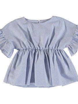 Mayoral Ink Stripe Ruffle Sleeve Blouse