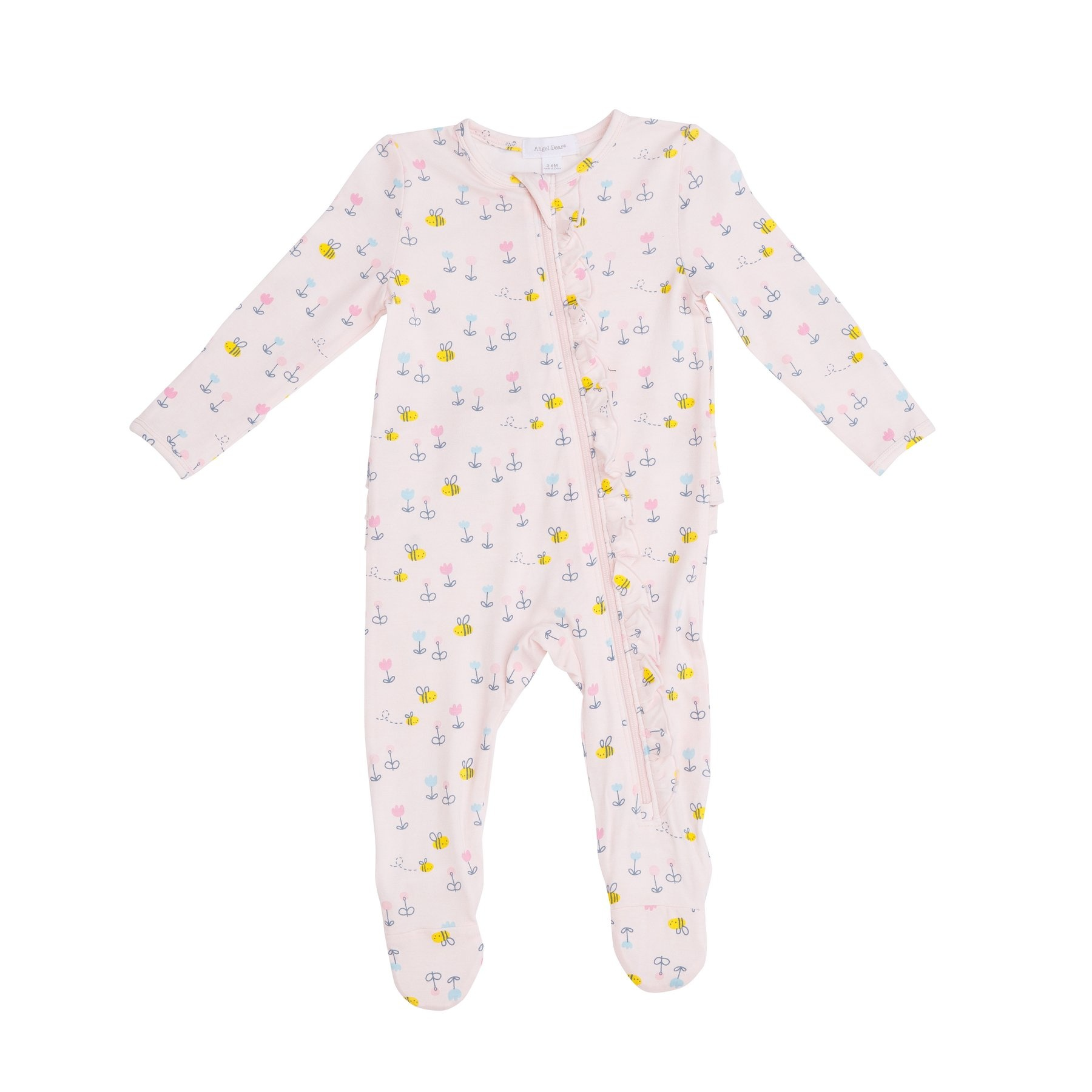 Angel Dear Little Bee Ruffle Zipper Footie