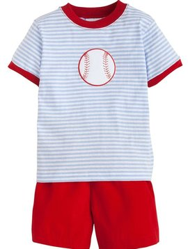 Little English Baseball Applique Short Set
