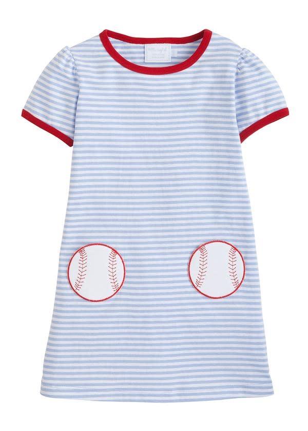 Little English Baseball Applique T-Shirt Dress