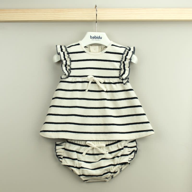 Babidu Navy Stripe Dress Set