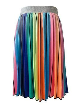 Lola & the Boys Rainbow Striped Midi Skirt