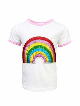 Lola & the Boys Happy Rainbow Patch Tee