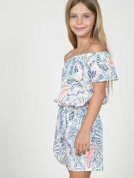 Mini Molly Feather Print Playsuit