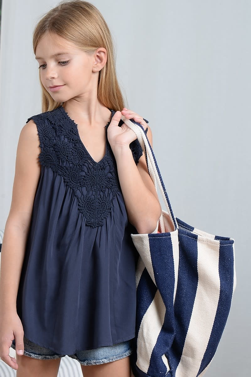 Mini Molly Midnight Blue Lace Flare Blouse