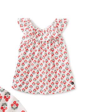 Tea Collection Flores Chalk Ruffle Neck Dress