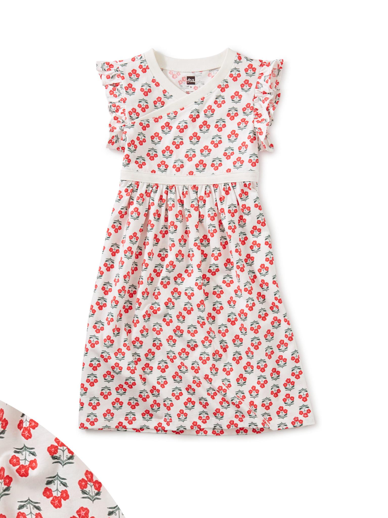 Tea Collection Flores Chalk Wrap Neck Dress