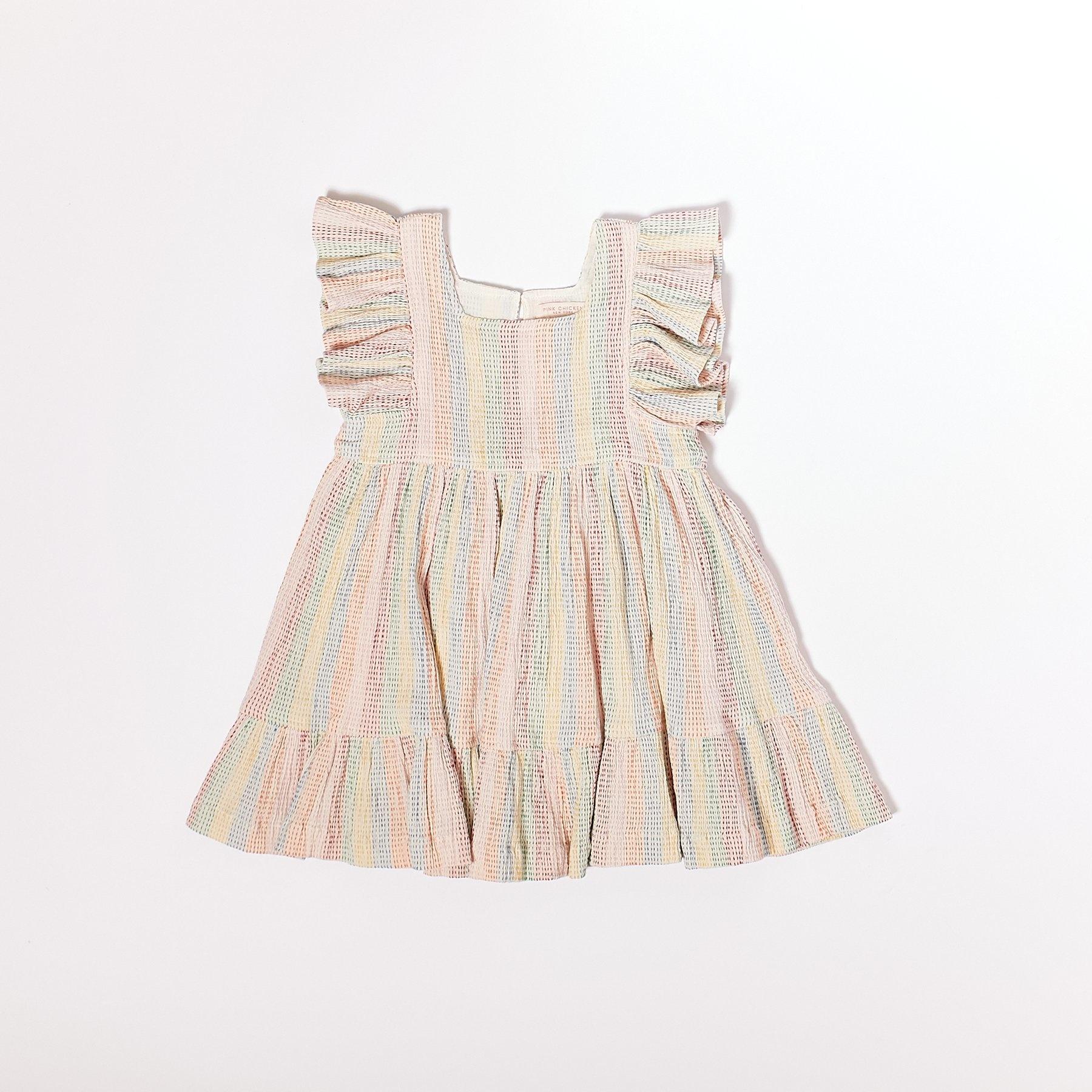Pink Chicken Elsie Rainbow Stitch Dress
